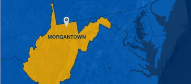 Map of the state of WV showing Morgantown, WVU's home, in the northern part of the state.